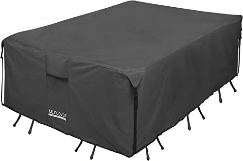 ULTCOVER 600D Tough Canvas Durable Rectangular Patio Table and Chair Cover - Waterproof Outdoor General Purpose Furni...