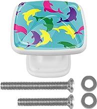 Kleurrijke Dolfijn met Schroeven Witte Lade Trekt Handvat 4 Stks Vierkant voor Kast Kaptafel 30mm Kabinet Deurknoppen