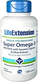 Life Extension Super Omega-3 Plus EPA/DHA With Sesame Lignans, Olive Extract, Krill and Astaxanthin, 120 Softgels