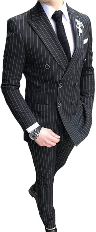 Pinstripe Men Suits(Jacket+Pants) Blazer Wedding Grooms Tuxedo