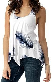 Women Blouse Plus Size Shirt Print Sleeveless Bandage Tank Vest Pullover Tops