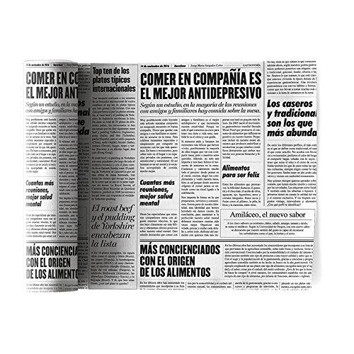 Serviette de table en coton 20x20cm - Idéale pour fête, anniversaire, cocktail - Rouleau de 12 serviettes - motifs/imprimés papier journal