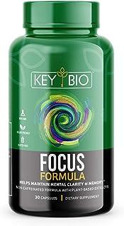 KEY BIO Focus Capsules   Nootropics, Memory, Clarity, Brain Support   Herbs, Vitamins & Minerals   Non-Caffeinated Formula...