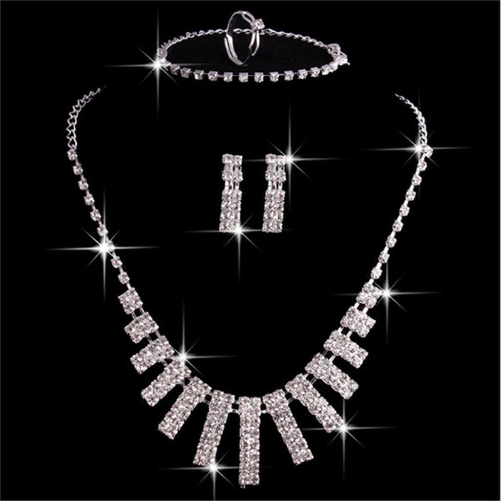 WEILYDF 5 Pieces Wedding Jewelry Set Gorgeous Glamorous Rhinestone Necklace Earrings Fine Bracelet Ring for Bride
