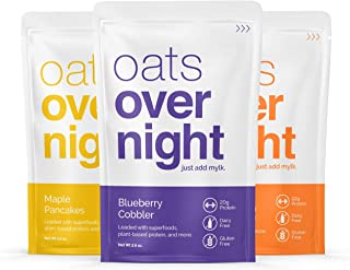 Oats Overnight Dairy-Free - Premium High-Protein, Low-Sugar, Gluten-Free, Vegan Oatmeal (2.6oz per pack) (12 Pack Variety)