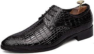 Homme Chaussure de Travail Décontractée en Cuir Pointue en Motif Crocodile de Coiffeur Chaussure de Ville a Lacets Casual ...