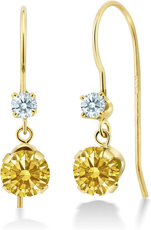 Carlo white golden Yellow 14k Yellow gold Earrings Made With Swarovski Zirconia