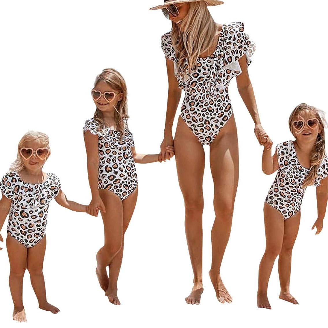 Chiccc Mommy&Me Child Girls Bathing Bikini Leopard Print One-Piece Swimwear Swimsuit Family Matching Swimwear