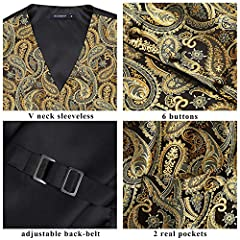 Hisdern Men's Paisley Floral Jacquard Waistcoat&Necktie and Pocket Square Vest Suit Set, Gold, L(Chest 46inch) #5