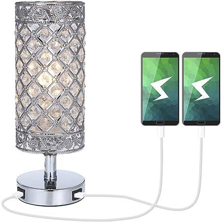 Lampe Cristal, Tomshine K5 Crystal Lampe de chevet, double USB Rechargeable, Cristal de mode créatif lampe de table argent, pour la commode de bibliothèque salon chambre hôtel (pas d'ampoule)
