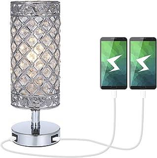 Lámpara de Mesa de CristalTomshine Lámpara Mesilla de Noche Doble USB Recargable Pantalla de Lámpara Plateada con Crist...