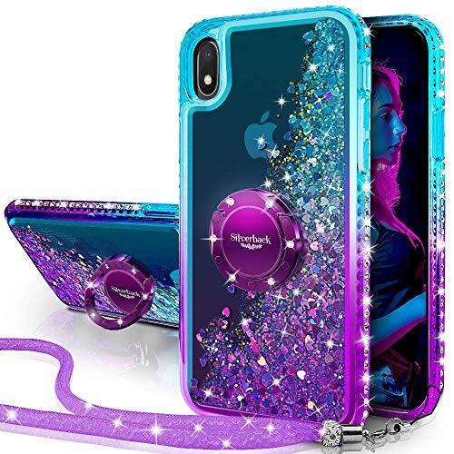Miss Arts Galaxy A10 Hülle,[Silverback] Mädchen Glitzern Handyhülle hülle mit Ringständer, Cover Silikon Flüssigkeit Clear Schutzhülle für Samsung Galaxy A10 -LILA