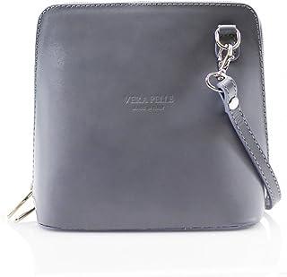 Genuine Vera Pelle Women Cross body Italian Leather Small Mini Shoulder Bag Handbag