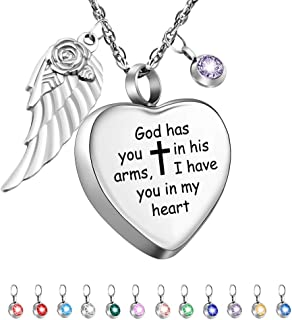 Dletay Heart Cremation Necklace for Ashes Angel Wing Urn Necklace with 12 PCS Birthstones-God Has You in His Arms, I Have You in My Heart