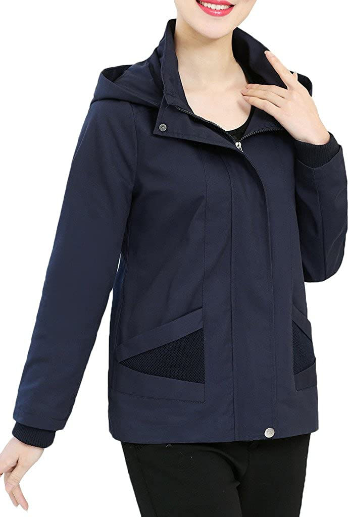 Zanlice Women's Zip Up half Twill Removable Jacket Fees free Cotton With Hoody