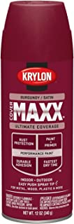 Krylon K09161000 COVERMAXX Spray Paint, Satin Burgundy, 12 Ounce