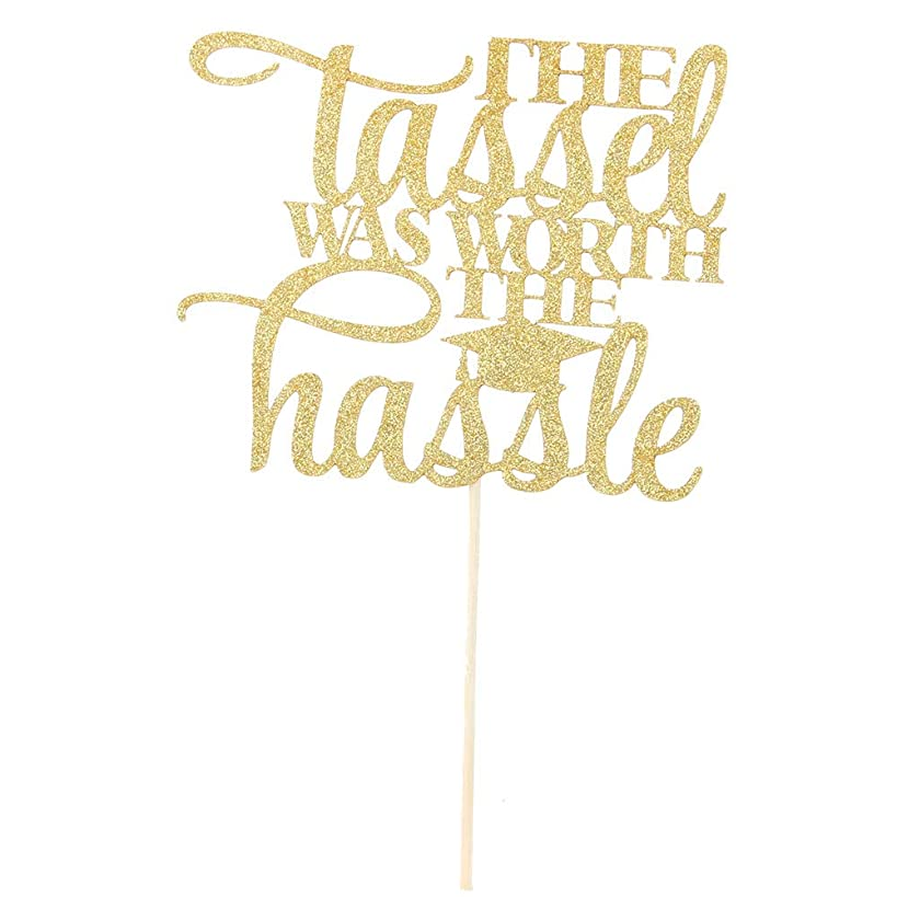 Gold Glitter The Tassel Was Worth The Hassle 2019 Graduation Cake Topper-Congrats Grad Party Decorations Supplies-High School Graduation, College Graduate Cake Topper