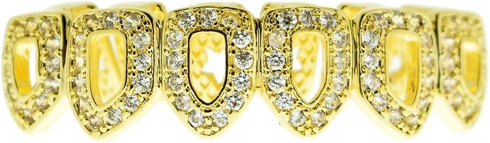 Bling Cartel Grillz CZ 14k Gold Plated Bottom Teeth Six 6 Open Face Cubic Zirconia Lower Hip Hop Grills