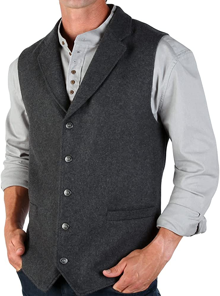 The Celtic Ranch Western Style Wool Lapel Vest, Blended Wool Vest with Lapels, Full-Back with Elastic Cinch and 4 Pockets