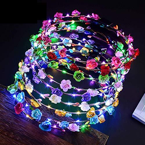 Outgeek Corona Flores Led, 12PCS Garland Diademas 10 Leds Bohemia Diadema Flores LED Headwear Floral Corona Tiara Decoración de La Boda Coronas de Flores para Niñas Mujeres