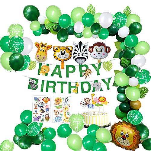 MMTX Giungla Decorazioni di Compleanno Party Ragazzi-Happy Banner di Compleanno con Foglie di Palma Palloncini in Lattice e Safari Forest Animal per Ragazzo Compleanno Decorazioni Hawaiian
