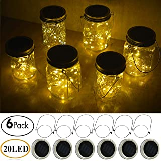 Decem Mason Jar Solar Lights, 6 Pack 20 LED Fairy Star Firefly String Lids Lights with 6 Hangers for Patio Yard Garden Party Wedding Christmas Decoration(Jars Not Included)