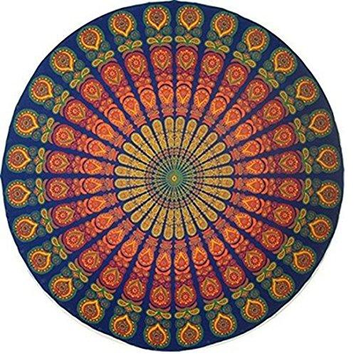 bhagyoday fashions- indischen Mandala rund Roundie Beach Überwurf Gobelin, Hippie Boho Gypsy Strandtuch, Roundie Handtuch, Picknick rund, Oversize, Strandtuch Yogamatte Überwurf 177,8cm