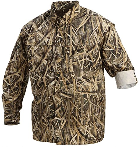 Drake EST Camo Vented Wingshooter's Shirt Long Sleeve, Color: Blades, Size: Large (DW2610-013-3)