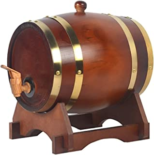 HWhome Tonneau en Chêne Vieilli, Distributeur De Whisky De 3L/5L/10L avec Support en Chêne, Adapté Au Stockage du Vin De C...