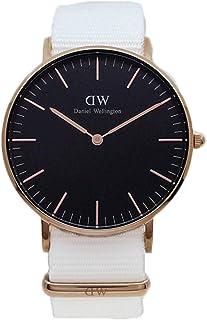 Daniel Wellington DW00600310 Fabric-Band Black-Dial Round Analog Unisex Watch - White