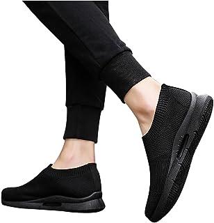 BIBOKAOKE Sneaker Herren Gewebte Slip On Flache Turnschuhe Canvas Casual Flache Schuhe Mesh Atmungsaktive Sportschuhe Leic...