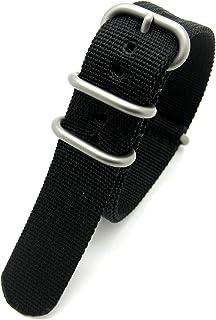Sconosciuto Cinturino per Orologio, Nero, Resistente, Stile Militare, in Tessuto di Nylon G10, 4 Anelli, con Fibbia cromat...