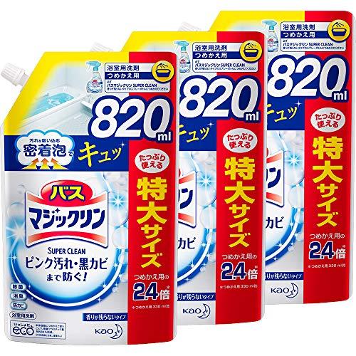 【Amazon.co.jp 限定】【まとめ買い】バスマジックリン 風呂洗剤 泡立ちスプレー SUPERCLEAN ニオイ残らない 詰め替え 820ml*3個