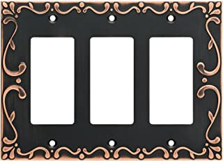 Franklin Brass W35079-VBC-C Classic Lace Triple Decorator Wall Switch Plate/Cover, Bronze With Copper Highlights