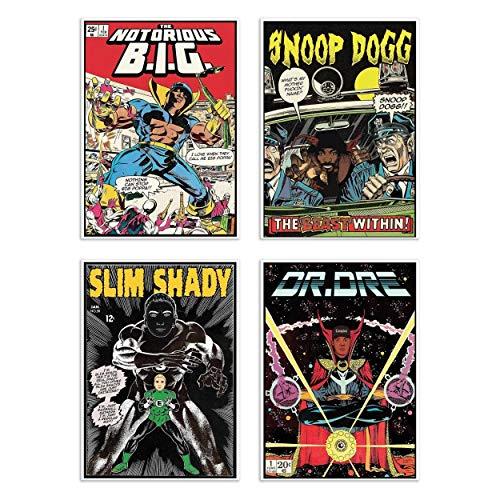 Wall Editions 4 Art-Posters 20 x 30 cm - Rappers Comics - David Redon