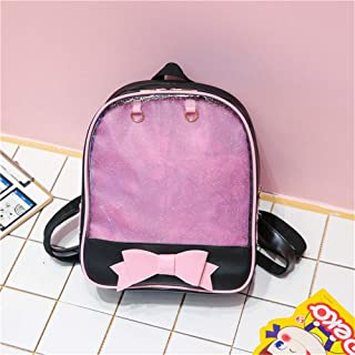 Women's Backpack Fashion Bow Backpack Trendy Simple Personality Transparent Backpack Waterproof Wearable,Purple