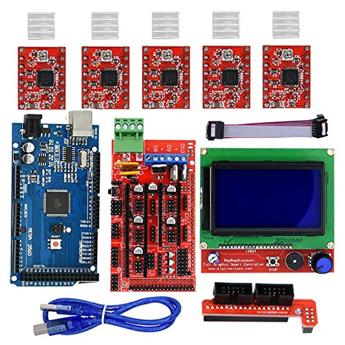 Huante 3D Printer 12864LCD Display MEGA2560 Main Control Ramps1.4 Expansion Board A4988 Kit