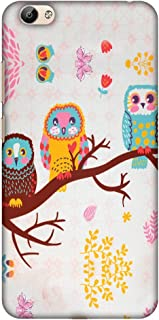 AMZER Slim Fit Handcrafted Designer Printed Hard Shell Case Back Cover Skin for Vivo Y66 - Owls On Branch HD Color