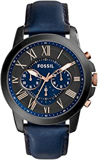 Fossil Mens FS5061 Grant Black Stainless Steel Watch with Blue Leather Band