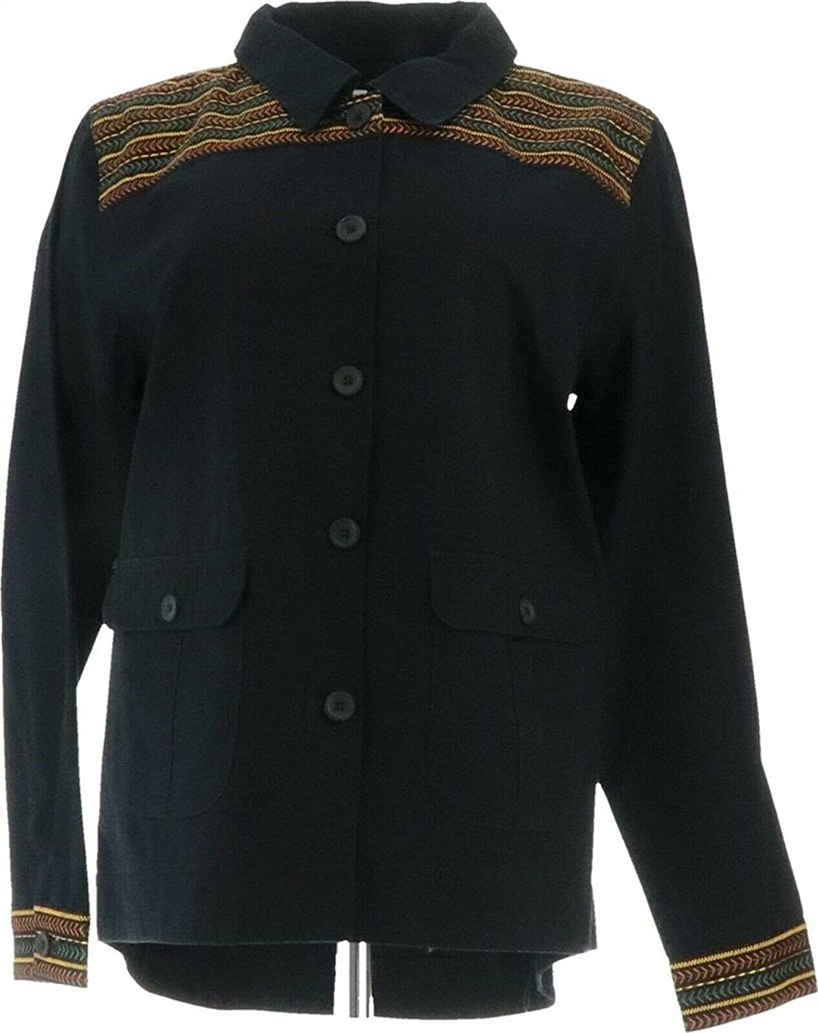 Denim& Co Cotton Twill Utility Jacket Embroidery A378280