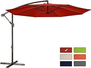 Patio Umbrella 10 ft Cantilever Offset Umbrella Outdoor Market Hanging Umbrellas Garden Umbrella & Crank with Cross Base, 8 Ribs (10 FT, Red)