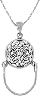 Celtic Knotwork Charm Holder Round Sterling Silver Pendant Necklace 18