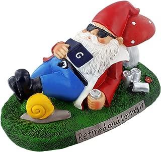 Gnometastic Retired and Loving It Garden Gnome Statue, Indoor/Outdoor Funny Lawn Gnome