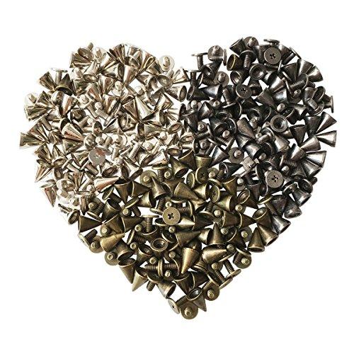YXJD 150 Set Metall Punk Nieten Kegel Spitzenieten 10mm Killernieten Ziernieten für DIY Lederhandwerk Kleidung Tasche Deko in 3 Farben Silber Bronze Dunkelgrau