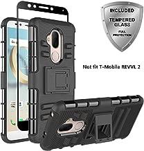 T-Mobile REVVL 2 Plus, Alcatel 7 Folio Case, Alcatel 7 Case, ChangeJ Military Grade Protection with Tempered Glass Screen Protector Holster Belt Clip Amor Case for Alcatel 7 - Black