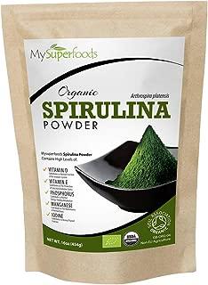 Espirulina En Polvo Orgánico 500g, MySuperFoods, Repletas de proteína, calcio y vitaminas, Rica en nutrientes, la mejor calidad disponible, certificado como producto orgánico por el Soil Association