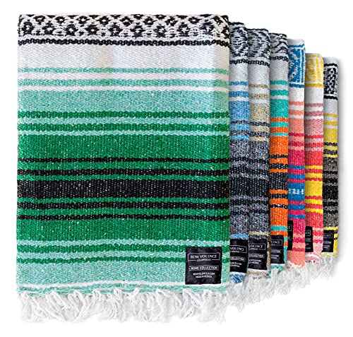 Authentic Mexican Blanket - Picnic Blanket, Handwoven Serape Blanket, Perfect as Beach Blanket, Picnic Blanket, Outdoor Blanket, Yoga Blanket, Camping Blanket, Car Blanket, Woven Blanket (Forest)