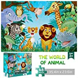 Jumbo Floor Puzzle for Kids Animal Jigsaw Large Puzzles 48 Piece Ages 3-6 for Toddler Children Learning Preschool Educational Intellectual Development Toys 4-8 Years Old Gift for Boys and Girls
