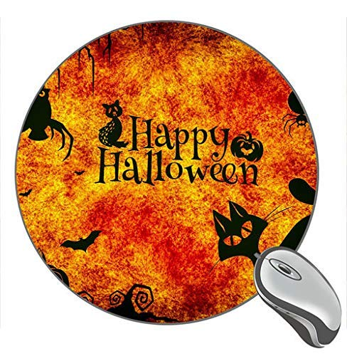 Happy Halloween Night Cats Eule Spider Pumpkin Print Runde Desktop-Mauspad Gaming Rubber Mouse Pad