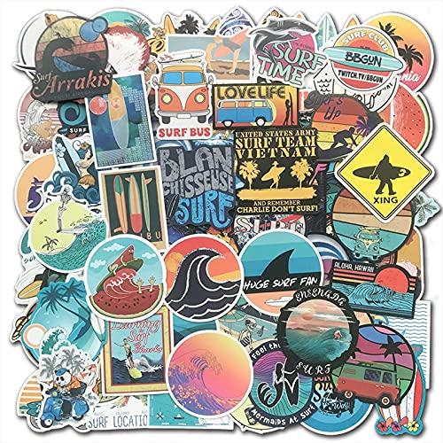 PMSMT 100 Uds, Pegatinas de Surf de Playa de Verano Fresco, Pegatina de Tabla de Surf, Bomba para Maleta, teléfono, portátil, Equipaje, Tableta, Botella de Agua, Paquete de calcomanías